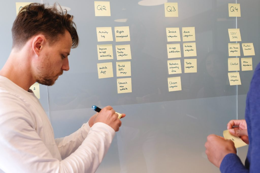 men working on saas growth hack with yellow sticky notes