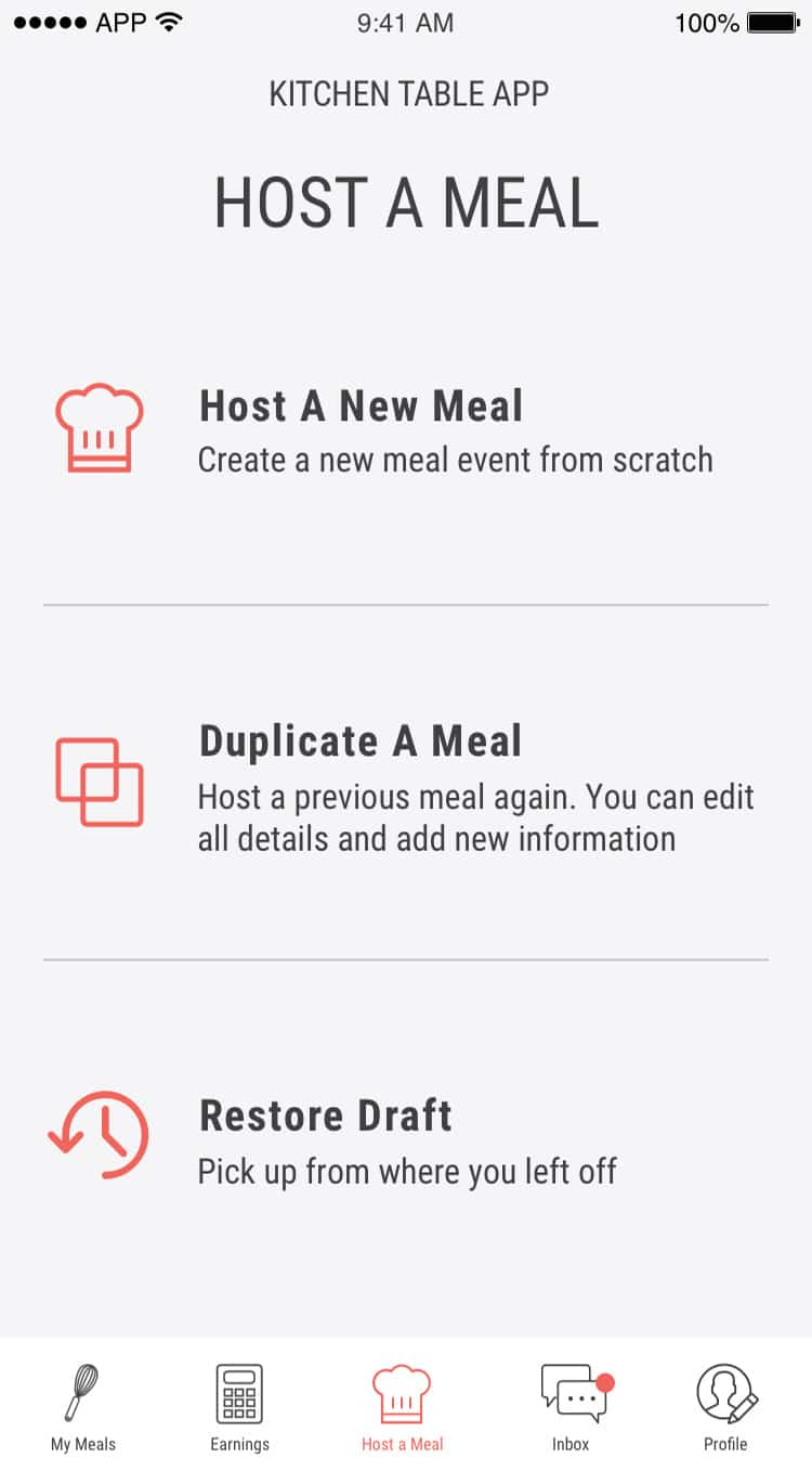 kitchen table dining mobile app host a meal