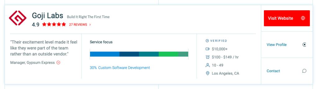 goji labs clutch 1000 b2b leaders profile