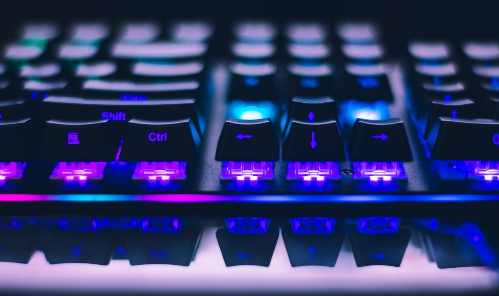 A glowing black keyboard
