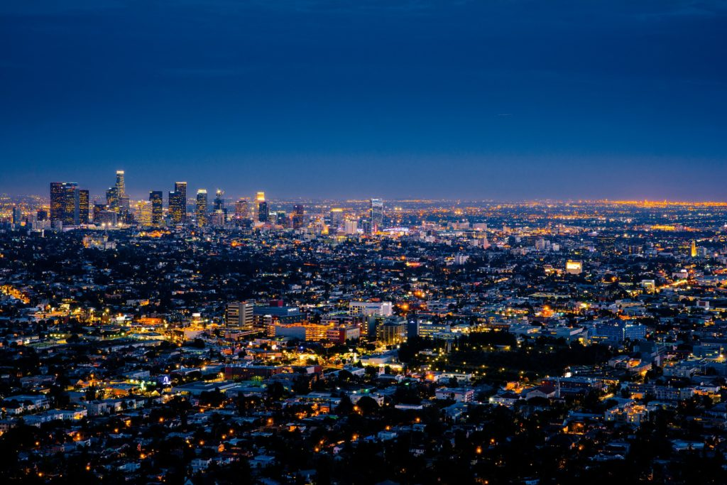 The skyline of LA at night