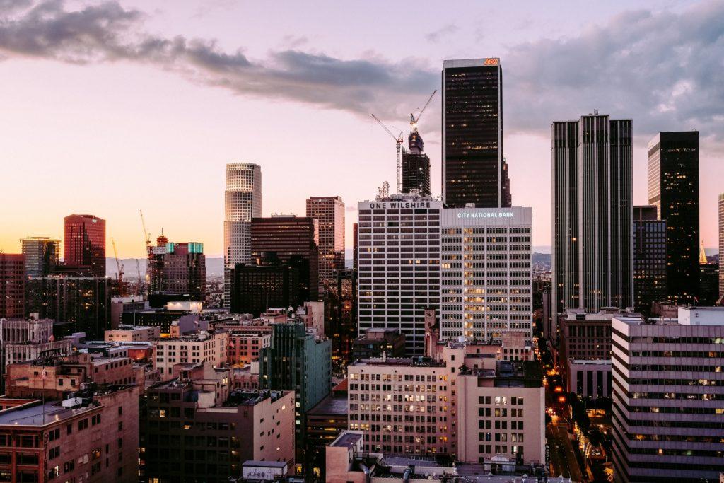 The LA skyline at dusk
