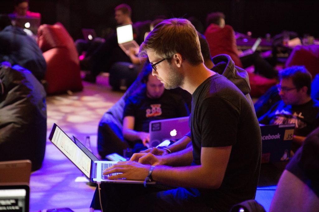 A guy on a laptop