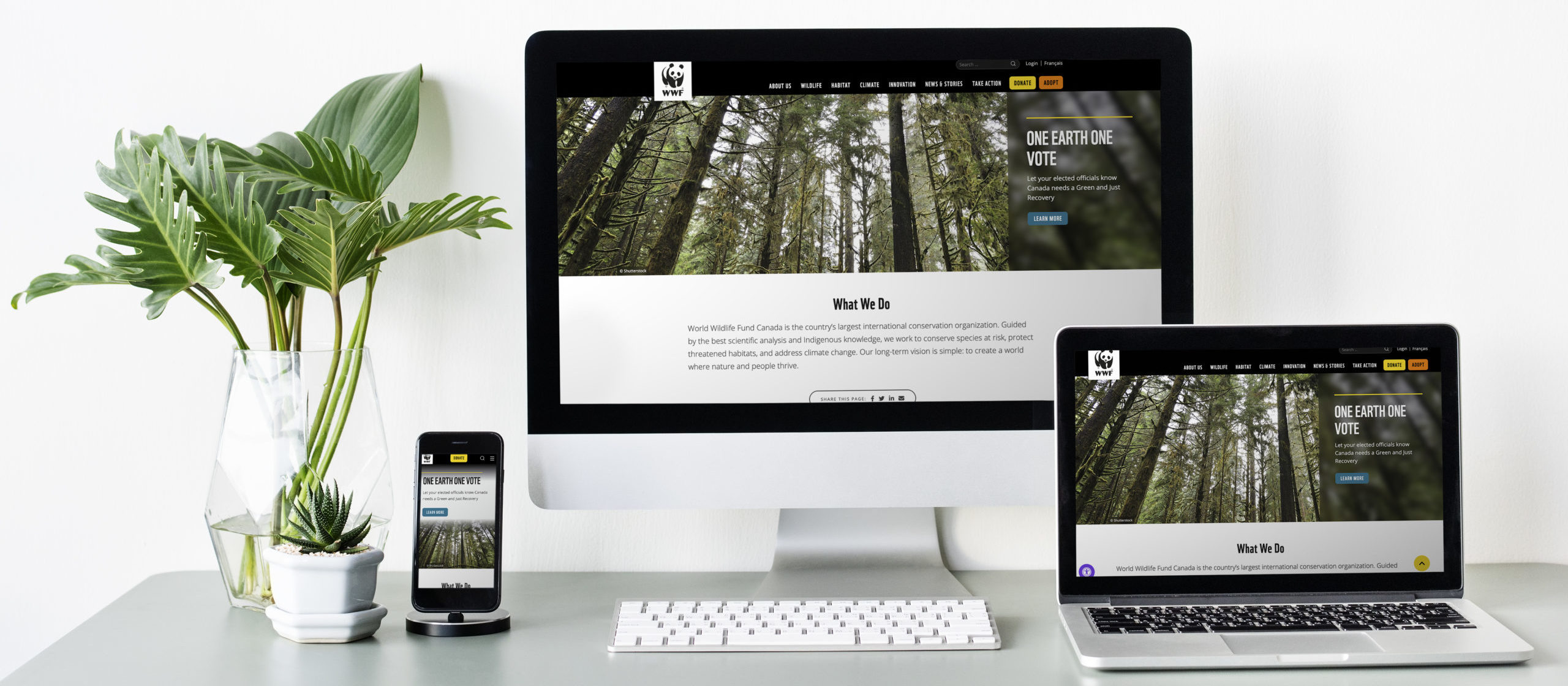 Image of website featured on three different devices