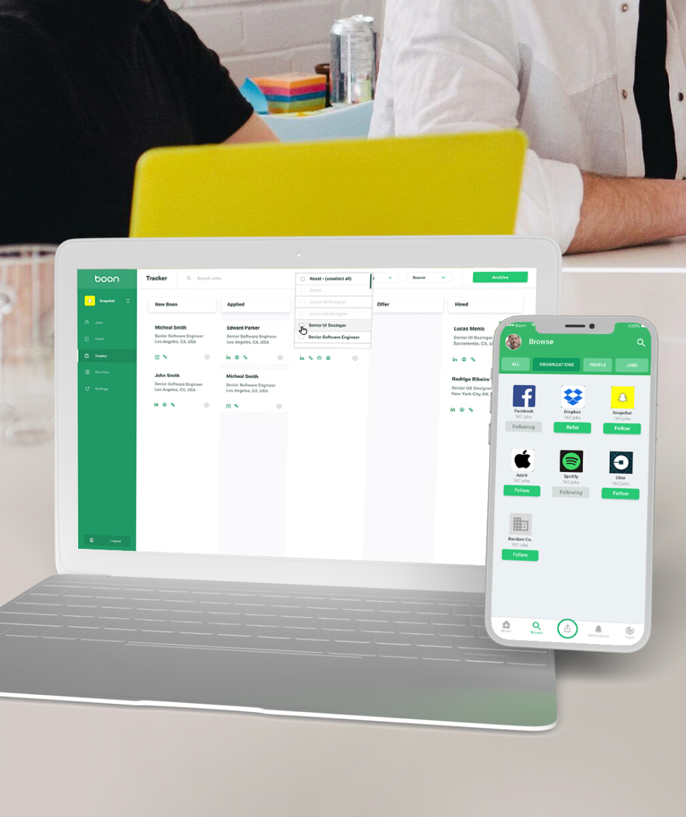 Image of Boon on computer and mobile device - app design